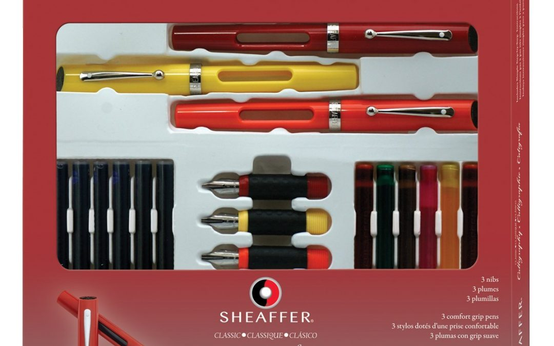 6. Sheaffer Calligraphy Maxi Kit, 3 Viewpoint Fountain Pens with 3 Nib Grades, Assortment of Ink Cartridges, Tracing Pad